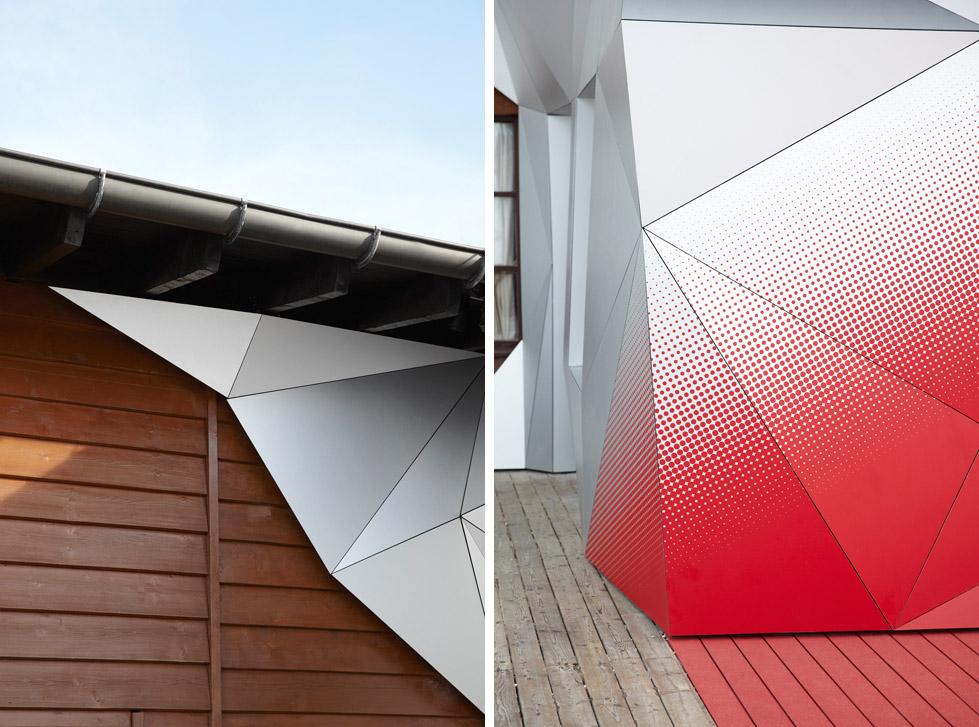 一座带着热心艳红和高科技姿态的小屋quattro Festkogl Alm for Audi  Designliga (10)