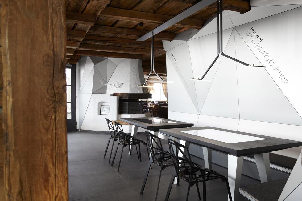 一座带着热心艳红和高科技姿态的小屋quattro Festkogl Alm for Audi  Designliga (12)