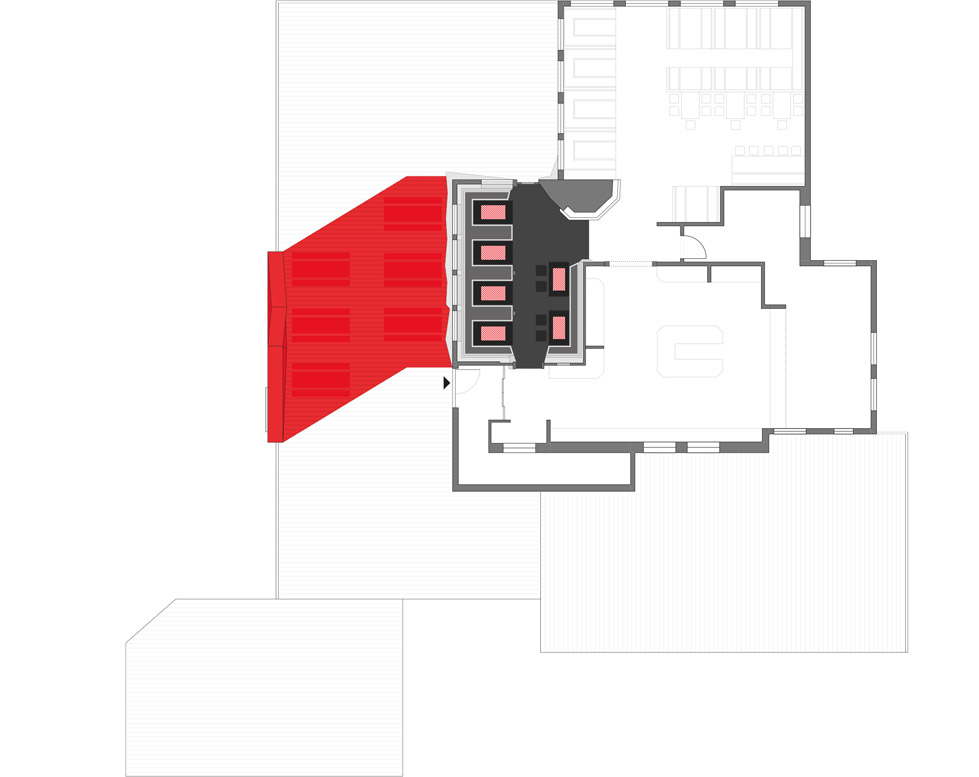 一座带着热心艳红和高科技姿态的小屋quattro Festkogl Alm for Audi  Designliga (14)