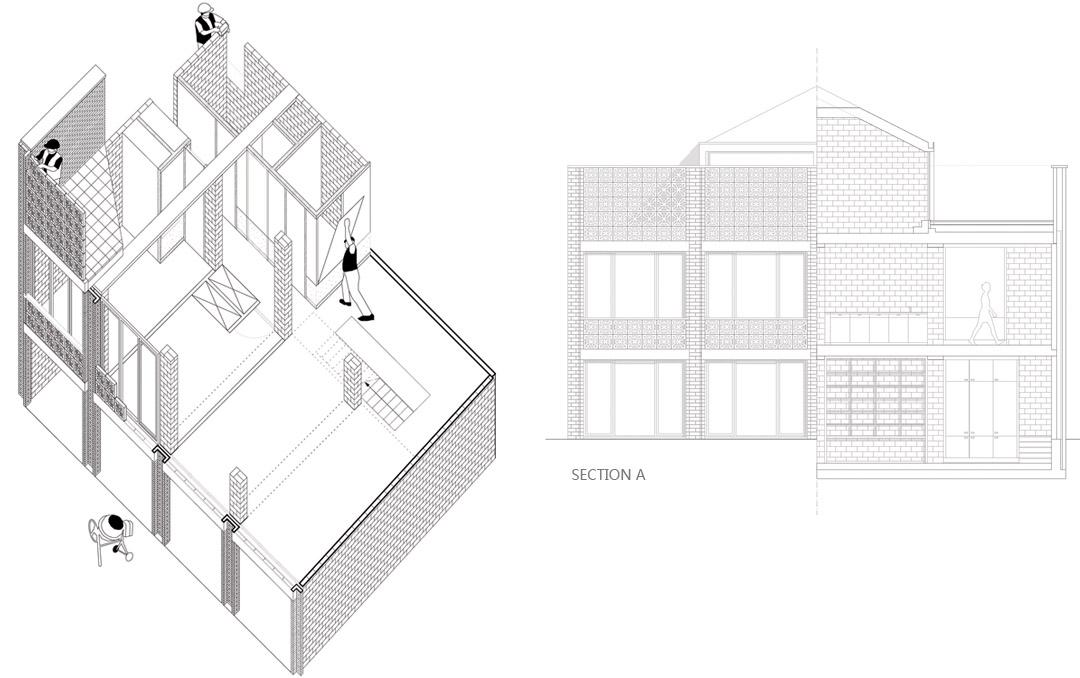 三栋住宅、一个办公室、一个庭院Mixed use infill 3 houses and an office  Collectief Noord  (5)